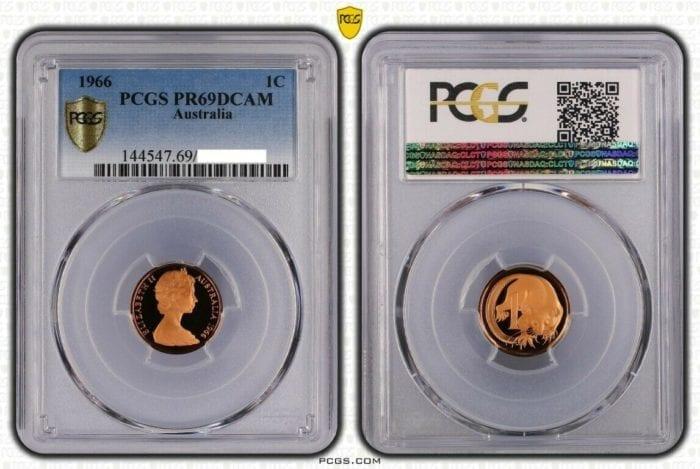 1966 Australia 1c Proof Coin PCGS Graded PR69DCAM