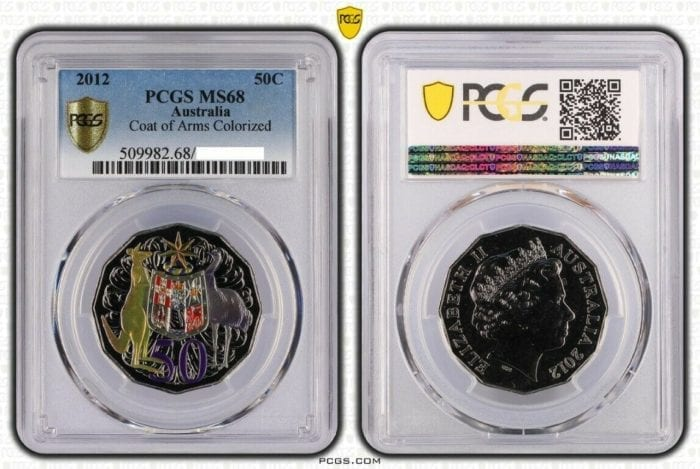 2012 Australia Coat of Arms Coloured 50c Coin PCGS Graded MS68