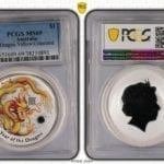 2012-P Australia Year of Dragon Yellow Coloured $1 1oz Silver Coin PCGS MS69